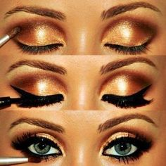 Gold eyeshadow with black eyeliner. Do with silver too!