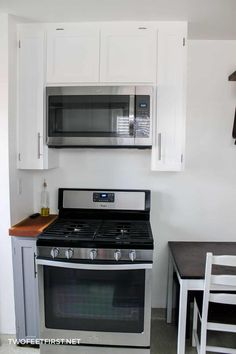 Do you want to get that microwave off the counter? See the process of installing an over-the-range microwave. Over The Counter Microwave, Microwave Above Stove, Small Kitchen, Microwave In Kitchen, Kitchen, New Kitchen, Green Kitchen, Microwave Shelf Over Stove, Microwave Range Hood