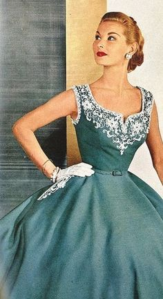 Delicate and beautifully embroidered, we love this vintage teal cocktail dress ad from @Lisa Phillips-Barton Harper's Bazaar 1952. #LMOCFteal