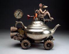 """Steampunk Teapot Mouse Car"""