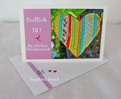 """Geburtstagskarte zum 18. Geburtstag """"Herz"""" von PHOTOGLÜCK auf DaWanda.com"""