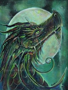 Aceo print  the green dragon Fantasy art  by TheArtOfReneeLLavoie