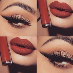 Love the red matte lip and simple eye make-up. Gorgeous Makeup, Pretty Makeup, Love Makeup, Makeup Inspo, Kiss Makeup, Glam Makeup, Beauty Makeup, Hair Makeup, Hair Beauty