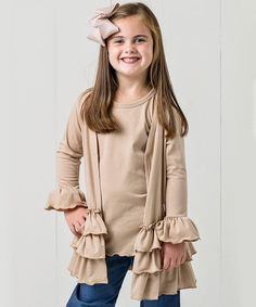 Take a look at this Khaki Ruffle Cardigan Set - Toddler & Girls on zulily today!