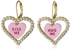 """Betsey Johnson Heart Candy Boost"""" Candy Heart and Pearl Drop Earrings on shopstyle.com"""