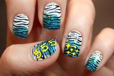 Gradient Tiger with Subaru Logo #nails #nailart #polish