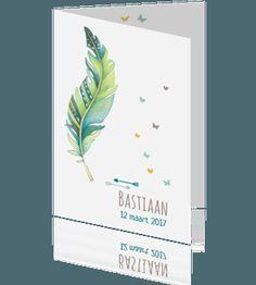 Origineel en uniek deze prachtig getekende veer. Mooie kleuren groen en blauw, hippe typografie en lieve hartjes. Maak voor €1,00 een proefdruk.
