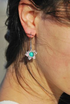 Lotus Earrings, flower earrings, lotus jewelry, yoga earrings, hoop earrings, handmade jewelry, everyday simple earrings, boho earrings by Estibela on Etsy