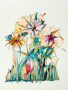 Flowers Original one of a kind watercolor and by DoritKohStudio, $350.00