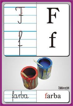 litery przedszkole f - Szukaj w Google Reading Skills, Writing Skills, Learn Polish, Handwriting Worksheets, Kids Learning, Montessori, Alphabet, Branding Design, Kindergarten
