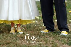 Yellow Chucks and Crinoline Under her wedding dress, how fun in Dayton, Ohio - Are you or someone you know getting married in Ohio, check out Cindy's Photography for an experienced and affordable wedding photographer