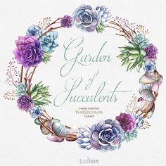Wedding Invitation. Stylish Watercolor Succulents Wreath & Bouquets. Hand painted clipart, invite DIY, greeting card, instant download.