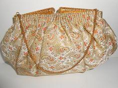 French Evening Bag, French Brocade, Vintage Handbag, Evening Purse, Brocade Clutch Bag, Made in France, 1950's EB-0449