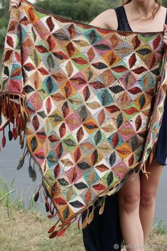Your platform for buying and selling handmade items - Triangular scarf crochet boho shawl crocheted scarves Crochet Wool, Crochet Poncho, Knitted Shawls, Crochet Granny, Crochet Scarves, Crochet Clothes, Hand Crochet, Crochet Stitches, Hand Knitting