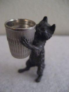 Antique Cast Metal Cat Thimble Holder | eBay