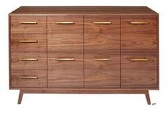 Walnut Record Cabinet with 6 LP drawers, 4 CD drawers.