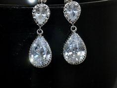 Bridal Earrings CZ Cubic Zirconia  Earrings by jewelrybyirina, $32.50