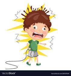 Kid with electric shock vector Jump Animation, Lightning Bolt Logo, Body Preschool, Scarecrow Crafts, Electric Shock, Disney Coloring Pages, Cartoon Pics, Kindergarten Activities, Allah Wallpaper