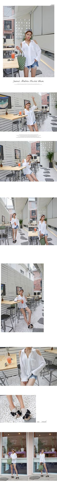 Long-Sleeved Shoulder Cutout Blouse | DABAGIRL, Your Style Maker | Korean clothes, bags&shoes, accessories, cosmetics