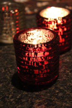 10 RED MERCURY GLASS Style Votive Candle Holder Painted Tea Light Vintage Wedding Speckled Purple Green Gold Ribbed Burgundy Maroon Sangria