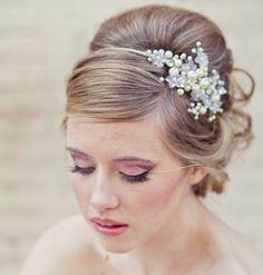 Rhinestone tiara with flowers and ivory pearls, wedding tiara