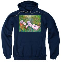 Poppy Flowers Sweatshirt featuring the painting White Poppy Flowers at the Pond by Sabina Von Arx Charcoal Color, Poppy Flowers, Creative Colour, Pond, Poppies, Tank Tops, Sweatshirts, Cotton, Sweatshirt