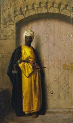 """Oil paintings by LUDWIG DEUTSCH, LEON GEROME & RUDOLF ERNST in the late 1800s. """"The Palace Guard"""" are depictions of N. African medieval Muslims, THE MOORS, who ruled N Africa, invaded & conquered """"Southern Europe (Spain, Portugal, France & Southern Italy-ala Sicily)"""" for nearly 800 years, from as early as the 7th to the 15th century. Their cultural legacy, influence & what they left behind is evident on modern day Spanish architecture, art, music and traditions."""