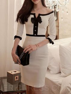 Ericdress Ladylike Slash Neck Robe Robe de gaineYou can find Sheath dresses and more on our website. Office Outfits, Mode Outfits, Dress Outfits, Dress Up, Fashion Outfits, Womens Fashion, Navy Dress, Dress Fashion, Latest Fashion