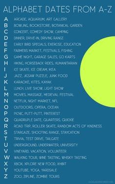 Alphabet Dating (fun date ideas for married couples). Looking for creative date night ideas? Check out our Alphabet Dating ideas from A to Z. You won't be running out of ideas anytime soon. Creative Date Night Ideas, Cute Date Ideas, Date Ideas Jar, Teenage Date Ideas, Date Ideas For Teens, Fun Cheap Date Ideas, Unique Date Ideas, Day Date Ideas, Fun Ideas