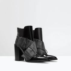 BUCKLED MOCK-CROC BOOTIE from Zara