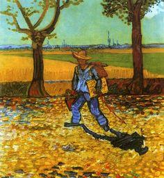 """""""der maler auf seinem weg zu arbeit"""", öl auf leinwand von Vincent Van Gogh (1853-1890, Netherlands)"""