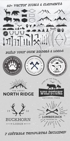 Wild 60 #vector elements + 7 editable badge and logo templates | #hipster…