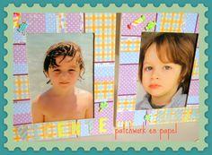 Marco de fotos en patchwork con laminas de papel Herminia Devoto