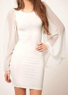 White Puff Sleeve Slim Bodycon Chiffon Dress - Sheinside.com