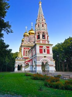 Another red-colored church, this one in Shipka, Bulgaria, the Memorial Temple of the Birth of Christ is a Bulgarian Orthodox church built fr...