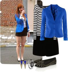 """Cobalt Blue Blazer w/ Studded Flats"" by sarratori ❤ liked on Polyvore"