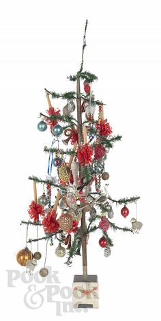 feather tree and ornaments, c 1900