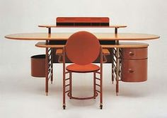 Frank Lloyd Wright desk and chair for SC Johnson