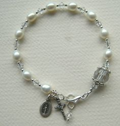 Religious Rosary Bracelet Freshwater Pearls by ChloeBoutique78,