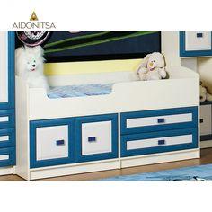 Κρεβάτι παιδικό 165x85 κατάλληλο για μικρές ηλικίες με τάβλες, με 2 συρτάρια και 2 ντουλάπια στο κάτω μέρος του. Δέχεται στρώμα 70x160 (το στρώμα δεν περιλαμβάνεται) Από την Alphab2b.gr Bunk Beds, Kids Room, Toddler Bed, Furniture, Home Decor, Products, Child Bed, Room Kids, Decoration Home