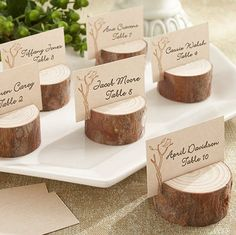 """""""Au Naturale"""" Rustic Wood Place Card Holder Rustic Wedding Favour (set of 4)"""