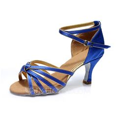 Women's Satin Heels Sandals Latin With Ankle Strap Dance Shoes (053053104)