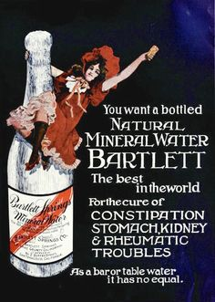 Bartlett natural mineral water ad from 1904. Vintage food drinks Edwardian