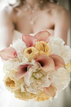 Bridal Bouquet Wedding Flowers - calla lilies and peonies