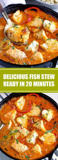These Easy Fish Stew are cooked in a delicious, rich and fragrant broth, topped with fresh cilantro and served over quinoa or ric. Fish Dinner, Seafood Dinner, Soup Recipes, Cooking Recipes, Healthy Recipes, Recipes With Seafood Broth, Dessert Recipes, Quinoa, Salmon Recipes