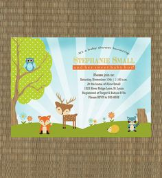 Or this cute deer? Printable Forest Baby Shower Invite  by EThreeDesignStudio on Etsy, $15.00