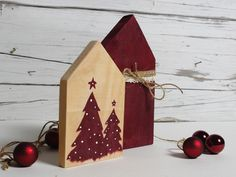 Vintage Christmas Decoration - Christmas Decorations Wooden Cottage Set - a unique product by melkey Christmas Room, Christmas Signs, Christmas Ornaments, Wooden Crafts, Diy And Crafts, Vintage Christmas Crafts, Wooden Cottage, Decoration Christmas, Craft Projects For Kids