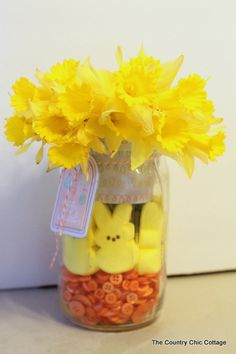 Peeps Mason Jar Centerpiece LIVE video tutorial ~ * THE COUNTRY CHIC COTTAGE (DIY, Home Decor, Crafts, Farmhouse)
