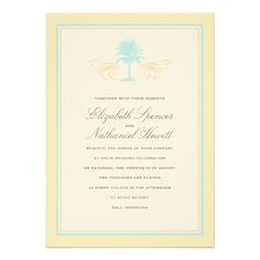 Vintage Palms Wedding Invitation Blue & Yellow