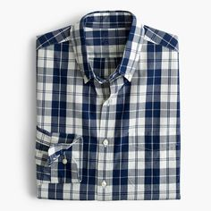 J.Crew Father's Day Shop: men's Secret Wash shirt in indigo plaid.
